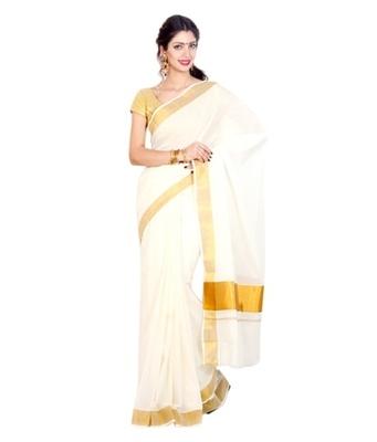 kasavu kerala saree with golden border with gold Blouse