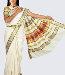 Buy Fashionkiosks cotton cream weaved kerala kasavu saree with lace work and gold blouse south-indian-saree online
