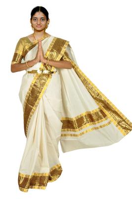 custom made saree.  Brocade borders running inbetween the two thin mango laces.