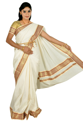 Fashionkiosks cotton cream weaved kerala kasavu saree with lace work and gold blouse