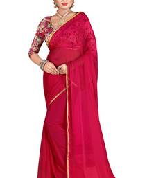 Buy Pink plain nazneen saree with blouse light-weight-saree online