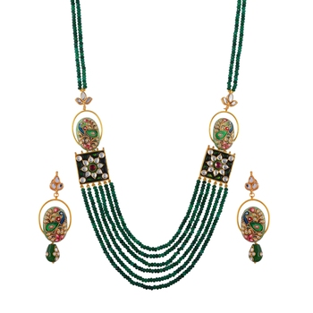 Green Emerald Vintage Look Royal Classic Designer Tanjore Work Necklace