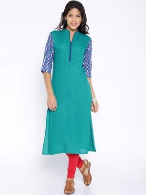 Sea Blue printed cotton  kurti