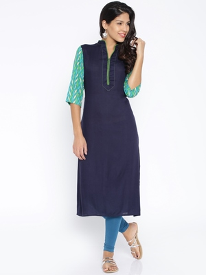 Navy Blue  printed cotton  kurti