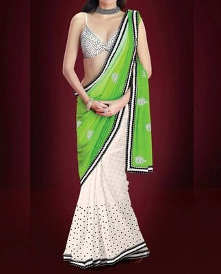 Green Stylish Heavy Indian Traditional Bollywood Designer Partywear saree, Designer Saree