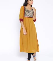 yellow printed cotton  kurti