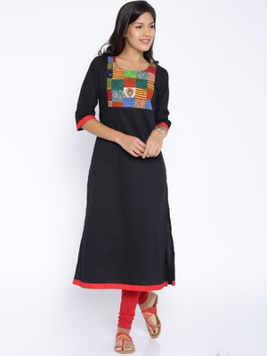 black multi printed cotton  kurti