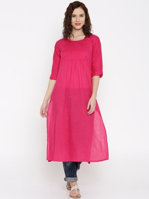 rani pink printed cotton  kurti