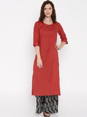 rust printed cotton  kurti