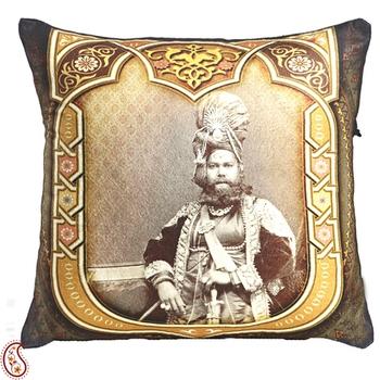 Poly Velvet Digital Print Cushion Cover with Raja of Rajastani