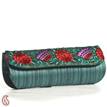 Teal Green Silk Embroidered Stylish Wrap Clutch