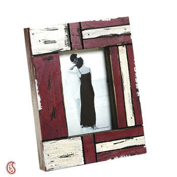 White and Red Matte contour Wooden Picture Frame