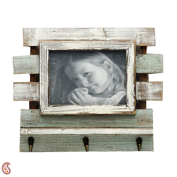 Green And White Wooden Photo Frame With Key Hooks