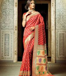 Buy Maroon woven silk saree with blouse hand-woven-saree online
