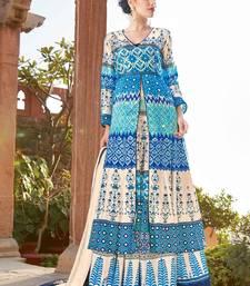 Buy Sky blue printed satin salwar sharara online