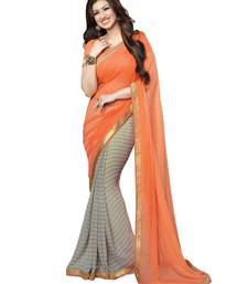 Buy Orange printed georgette saree with blouse Woman online