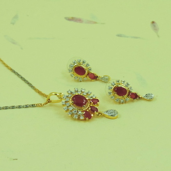 Beautiful Handcrafted Gift AD Locket Set With Red Stone