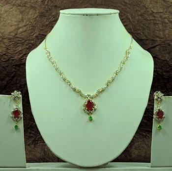 Beautiful Green Red Color AD Necklace Set For Indian Women