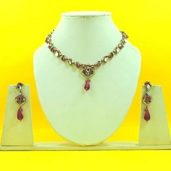 Designer Artificial Pink Necklace Set
