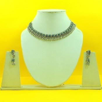 Handmade Silver Plated Aqua Stone Necklace Set