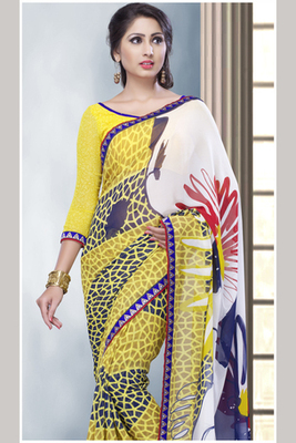 Off-white and Yellow Georgette Saree comprising Border work with Yellow Blouse piece