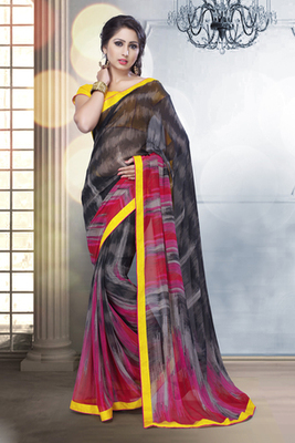 Black and Red Georgette Saree Comprising Border work with Yellow Blouse piece