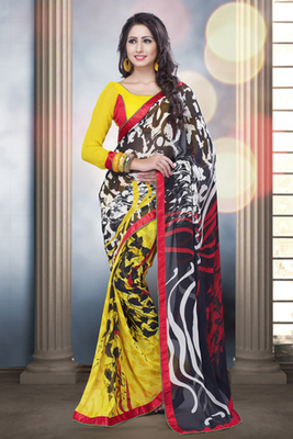 Black, White and Yellow Georgette Saree with Yellow Blouse piece