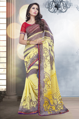Yellow and Grey Bemberg Georgette Printed Saree with Georgette Blouse piece