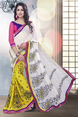 Off-white and Yellow Georgette Saree Comprising Floral Print work with Georgette Blouse piece