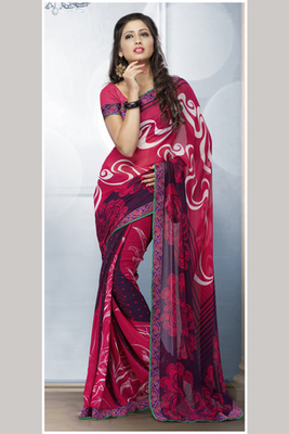 Pink Bemberg Georgette Printed Saree Comprising Border work with Pink Blouse piece