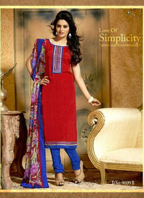 Saesha Cotton Thread Embroidered Red & Blue Colored Salwar Suit
