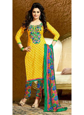 Saesha Cotton Thread Embroidered Yellow  Colored Salwar Suit