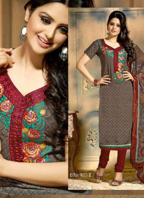 Saesha Cotton Thread Embroidered Grey & Maroon Colored Salwar Suit