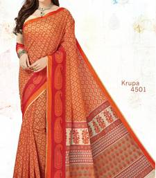 Buy Orange woven cotton saree with blouse handloom-saree online