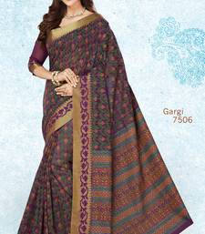 Buy Purple woven cotton saree with blouse handloom-saree online