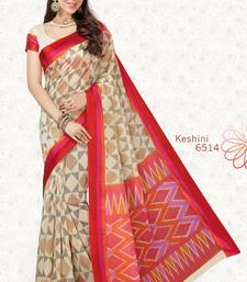 Buy Cream woven cotton saree with blouse handloom-saree online