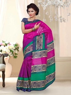 Bhagalpuri Silk casual saree with unstitched blouse