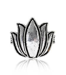 Silver Color Lotus Design Oxidised Traditional Rings