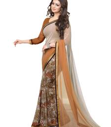 Buy Coffee printed georgette saree with blouse bollywood-saree online