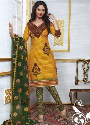 Beautiful Yellow Printed Cotton  Dress Material