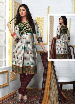 Dazzling Multi Color Printed Cotton  Dress Material
