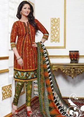 Dazzling Orange Printed Cotton  Dress Material