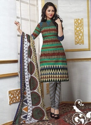 Beautiful Multi Color Printed Cotton  Dress Material