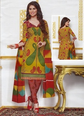 Radiant Multi Color Printed Cotton  Dress Material