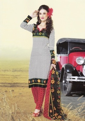 Dazzling White Printed Cotton  Dress Material
