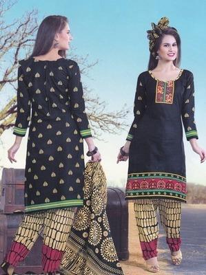 Trendy Black Printed Cotton  Dress Material