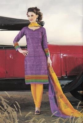 Beautiful Purple Printed Cotton  Dress Material
