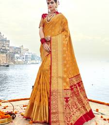 Gold woven banarasi art silk saree with blouse great-indian-saree-festival