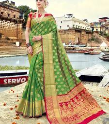 Buy Green woven banarasi silk saree with blouse banarasi-silk-saree online