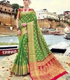 Buy Green woven banarasi art silk saree with blouse women-ethnic-wear online
